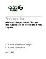 Proposal for Mission Change, Name Change, and Addition of an Associate in Arts Degree