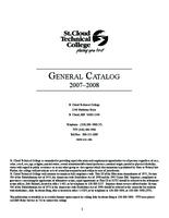 St Cloud Technical College General Catalog 2007-2008